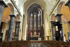 Chiesa collegiale di St Denis di Liegi Fotografia Stock