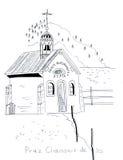 Chiesa d'annata de les di schizzo dell'illustrazione Immagine Stock