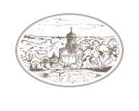 Chiesa d'annata di Christian Orthodox del Russo dell'illustrazione di schizzo nel villaggio Paesaggio di panorama con un vecchio  Fotografia Stock