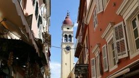 Chiesa del campanile di Spyridon del san, Kerkyra, isola di Corfù, Grecia video d archivio
