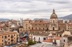 Chiesa del Carmine Maggiore. Palermo, Italy. Chiesa del Carmine Maggiore and Ballarò district seen from the tower of San Nicolò di Bari Stock Photography