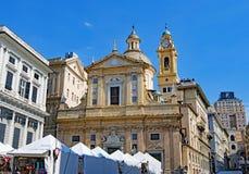 Chiesa del Gesu dei Santi Ambrogio e Andrea, in Genua, Italië in Pasen 2019 stock fotografie