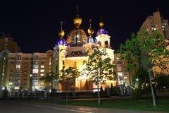 Chiesa del presupposto del vergine Vista di notte kiev l'ucraina Fotografia Stock Libera da Diritti