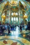 Chiesa del salvatore su anima rovesciata Turisti e parrocchiano Fotografia Stock Libera da Diritti
