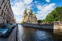 Chiesa del salvatore su sangue rovesciato, canale di Griboedova, san fotografia stock libera da diritti