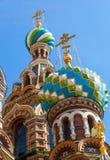 Chiesa del salvatore su sangue rovesciato in San Pietroburgo Fotografie Stock Libere da Diritti