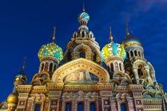 Chiesa del salvatore su sangue rovesciato in San Pietroburgo Fotografia Stock