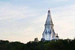 Chiesa dell'ascensione, Kolomenskoye al tramonto, Mosca immagini stock