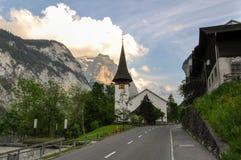 Chiesa della città di Lauterbrunnen Fotografia Stock Libera da Diritti