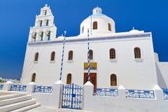 Chiesa della città di OIA su Santorini Fotografia Stock