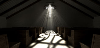 Chiesa della croce della finestra di vetro macchiato Fotografie Stock