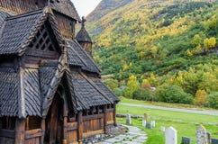 Chiesa della doga di Borgund Fotografia Stock