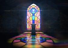 Chiesa della finestra di vetro macchiato Immagini Stock