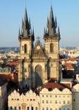 Chiesa della nostra signora davanti a Tyn, quadrato di Città Vecchia, Praga Fotografie Stock