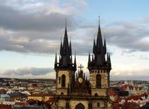 Chiesa della nostra signora di Tyn, Praga fotografia stock