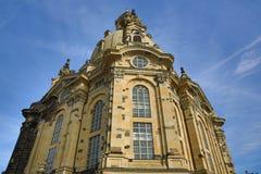 Chiesa della nostra signora Frauenkirche, vecchia costruzione nel centro della città Dresda, Germania Immagine Stock