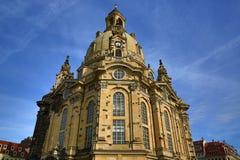 Chiesa della nostra signora Frauenkirche, vecchia costruzione nel centro della città Dresda, Germania Fotografia Stock Libera da Diritti