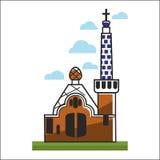 Chiesa della Spagna con i grandi portoni e l'alta torre Immagini Stock