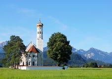 Chiesa della st Coloman, vicino a Fussen, la Baviera, Germania Fotografia Stock Libera da Diritti