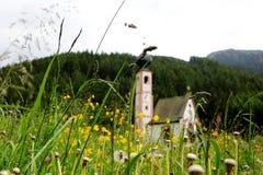 Chiesa della st Magdalena, vicino al picco di montagna di Cinque Torri in Dolomiti delle alpi in Italia Immagini Stock Libere da Diritti