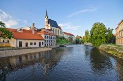Chiesa della st Vitus in Cesky Krumlov, Repubblica ceca Fotografia Stock
