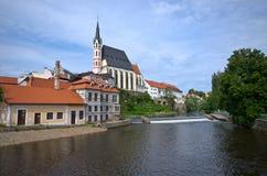 Chiesa della st Vitus in Cesky Krumlov, Repubblica ceca Fotografia Stock Libera da Diritti