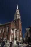 Chiesa della via del parco Immagine Stock