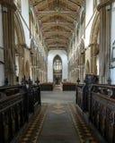 Chiesa della vista di St Cuthbert Nave dall'altare Fotografie Stock