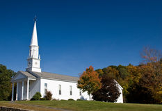 Chiesa di bianco della Nuova Inghilterra Fotografia Stock Libera da Diritti