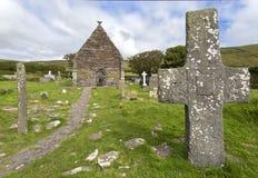 Chiesa di Kilmalkedar, penisola delle Dingle, Irlanda Fotografia Stock Libera da Diritti