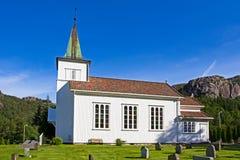 Chiesa di legno bianca tradizionale in Rogaland, Norvegia Fotografia Stock Libera da Diritti