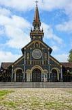 Chiesa di legno di Kontum, cattedrale antica, eredità Fotografia Stock Libera da Diritti