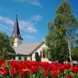 Chiesa di legno in Grimstad, Norvegia fotografia stock libera da diritti