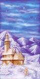 Chiesa di legno nelle montagne di inverno Fotografia Stock Libera da Diritti