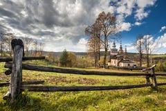 Chiesa di legno in Swiatkowa Mala, Polonia Fotografie Stock