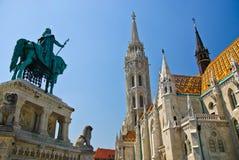 Chiesa di Matthias, monumento della st Stephen I, Budapest Fotografie Stock
