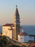 Chiesa di parrocchia di St George in Piran Fotografie Stock Libere da Diritti