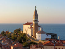Chiesa di parrocchia di St George in Piran Fotografia Stock Libera da Diritti