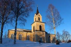 Chiesa di Råneå in sole di inverno Immagini Stock