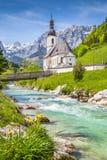 Chiesa di Ramsau, terra di Berchtesgadener, Baviera, Germania Immagine Stock Libera da Diritti