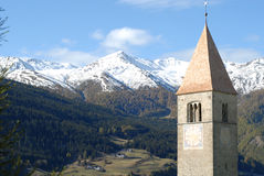 Chiesa di Reschensee Fotografia Stock