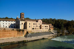 Chiesa di San Bartolomeo. Is a temple, led by the church, the Tiber island is located in Rome, Italy Stock Images