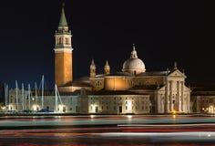 Chiesa di San Giorgio Maggiore alla notte Fotografia Stock