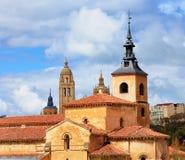 Chiesa di San Milano e cattedrale di Segovia Fotografie Stock Libere da Diritti