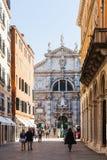 Chiesa di San Moise en la ciudad de Venecia imagen de archivo libre de regalías