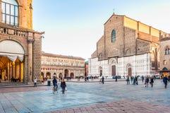 Chiesa di San Petronio nella piazza Maggiore a Bologna, Italia Fotografia Stock Libera da Diritti