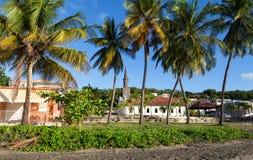 Chiesa di San Tommaso e palme nella priorità alta, città di Diamant, isola della Martinica Fotografia Stock
