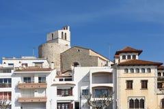 Chiesa di Sant Jaume di Sant Pol de Mar, EL Maresme, fotografia stock libera da diritti