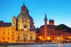 Chiesa di Santa Maria di Loreto e Colonna Traiana a Roma immagine stock libera da diritti