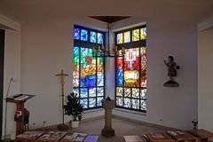 Chiesa di St Bartholomew in Leutershausen, Germania immagine stock libera da diritti